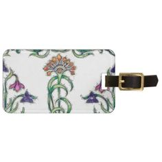 Art Deco Floral Luggage Tag - purple floral style gifts flower flowers diy customize unique