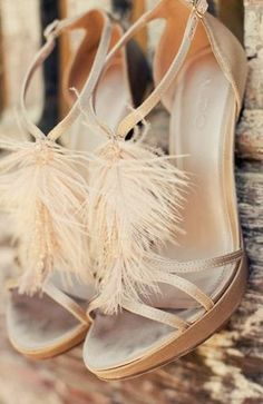The prettiest DIY feathered wedding shoes.