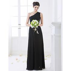 Floor-length Chiffon Bridesmaid Dress - Black Plus Sizes / Petite Sheath/Column One Shoulder – USD $ 64.99