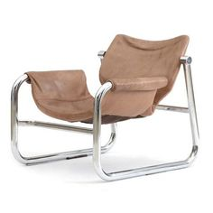 Image of Mid Century Chrome and Leather Alpha Chair in the Style of Maurice Burke