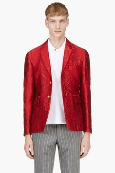 Thom Browne Red Jacquard Blazer in Red for Men | Lyst