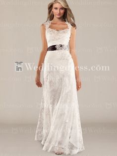 Vintage Keyhole Back Wedding Gown with Sash BC689