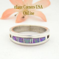 Four Corners USA Online - Size 12 Pink Fire Opal Inlay Ring Native American Wilbert Muskett Jr WB-1617, $135.00 (http://stores.fourcornersusaonline.com/size-12-pink-fire-opal-inlay-ring-native-american-wilbert-muskett-jr-wb-1617/)