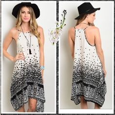 ONE SM LEFT!  Boho Trapeze Dress 💋💋 This stunning nude and black dress has a shark hemline, thin shoulder straps, it is 100% rayon! Perfect for summer! Add a kimono to transition to spring and fall or a cute shrug 💝This is the final markdown offers will be ignored or countered with this price! Dresses Asymmetrical