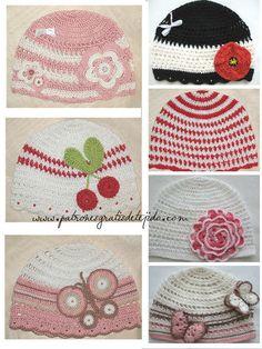 modelos de gorros tejidos al crochet con sobrantes de hilos Crochet For Kids, Crochet Baby, Knit Crochet, Crochet Gloves, Knitted Hats, Crochet Headbands, Flower Hair Bows, Yarn Over, Kids Hats