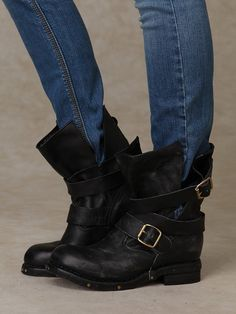 Brit Boot | Distressed leather slouch boot with wrapped buckle straps. Stud detailing around outer sole. Padded footbed. Fully rubber sole.  *By Jeffrey Campbell  *Leather Upper, Man Made Sole  *Import