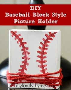 Are you looking for a special Father's Day gift for your favorite baseball fan? Surprise him with this cute DIY Baseball Block Style Picture Holder. Homemade Crafts, Easy Diy Crafts, Diy Craft Projects, Craft Gifts, Diy Gifts, Wood Block Crafts, Baseball Crafts, Picture Holders, How To Make Diy