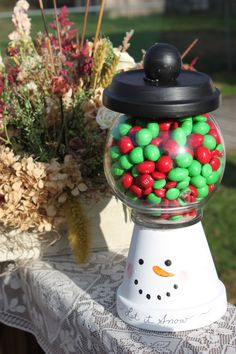 Items similar to Let it snow - snowman candy dish on Etsy Christmas Clay, Diy Christmas Gifts, Holiday Crafts, Christmas Things, Christmas Decor, Xmas, Flower Pot Crafts, Clay Pot Crafts, Flower Pots