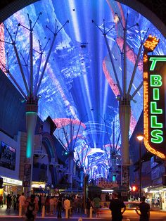 """Light show called the """"Fremont Street Experience Light and Sound Show"""" in Las Vegas, NV. The huge canopy covers 5 blocks of Fremont Street. ©2007 Donna S. McCraw"""