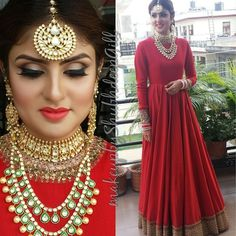 Looking for two string polki necklace? Browse of latest bridal photos, lehenga & jewelry designs, decor ideas, etc. on WedMeGood Gallery. Indian Bridal Fashion, Indian Bridal Wear, Asian Bridal, Indian Wedding Outfits, Indian Wear, Indian Outfits, Asian Fashion, Red Indian, Indian Weddings