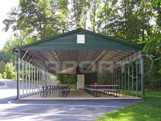 Customers have used our metal buildings as picnic shelters, enclosed metal garages, workshops, large farm buildings, feed storage buildings, enclosed RV garages, and much more. Our metal storage buildings include free installation on your level job site and we do offer metal building kits for those that just want to install the units themselves.