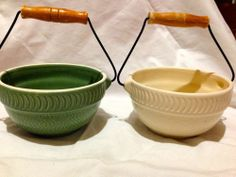 Set of 2 ceramic bowls with wire and wood handles. Adorable. Mint condition