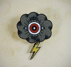 Eye Cloud Neo Traditional Tattoo Brooch by Yukittenme on Etsy