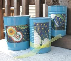 Van Gogh Blue Can Set.  This set of 3 upcycled cans makes for a nice desk set, holding pens, pencils, and other accessories. by UponASunnyDay on Etsy
