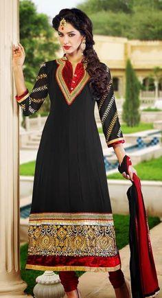 $61.04 Black Embroidered Faux Georgette Anarkali Salwar Kameez 26209
