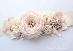 Bridal Ivory Gold Pink Beaded Sash Belle Flower by SunnyApril