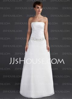 A-Line/Princess Strapless Floor-Length Taffeta Wedding Dress With Ruffle Beadwork (002001666) - JJsHouse