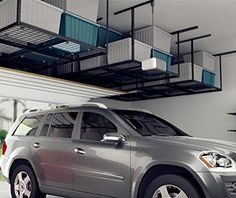 Storage Rack Adjustable Ceiling Garage Rack Heavy Duty, Length x Width x Ceiling Dropdown), Black (Two-Color Options) Garage Storage Units, Garage Organization Systems, Garage Storage Solutions, Storage Ideas, Carport Storage, Garage Systems, Tool Storage, Room Organization, Overhead Storage Rack