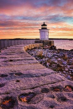 """One of the prettiest spots in Maine is Bug Light Park in South Portlandoverlooking Portland Harbor with stunning views of the city skyline. The centerpiece of the park is this little gem, built in 1875 in a beautiful Greek architectural style. At only 26 feet tall, the Portland Breakwater Light is affectionately called """"Bug"""" Photo By Benjamin Williamson"""