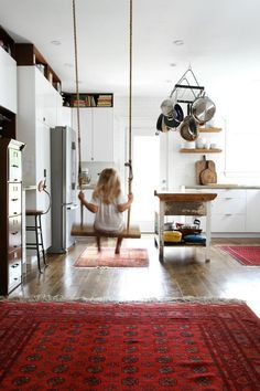 Pin for Later: 14 Insanely Fun Ideas to Steal From a Kid-Friendly Home An indoor swing