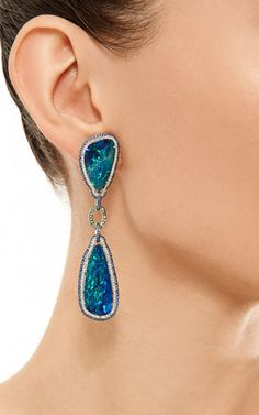 Black Opals, Blue Sapphires And White Diamond Earrings by Wendy Yue