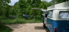 Glamping camper and hammock 2, Coppice Woodland, Guilden Gate