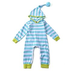 Brandwen 2017 New Fashion Style Autumn Winter Baby Girls Boys Rompers Blue Red Striped Hoodies Jumpsuit Newborn Toddle Clothing #Affiliate