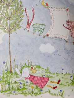 An angel in the garden Cute Pictures To Draw, Pretty Pictures, Animal Drawings, Art Drawings, Yoga Painting, Envelope Art, Bunny Art, Mail Art, Whimsical Art