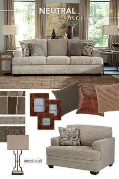 #AshleyFurniture - Mixing neutral shades of green, tan and brown in different fabrics and finishes will give you an easy, yet soft-eclectic look. Featuring the Barrish Sisal Living Room Collection - Sofas - Living Room Furniture - #Sofas #LivingRoom