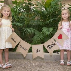 Burlap Here Comes the Bride Banner ... super cute alternative to the traditional flower girl and ring bearer roles. #wherebridesgo