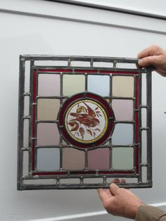 £190 Antiques Atlas - Victorian Hand Painted Stained Glass Bird Panel