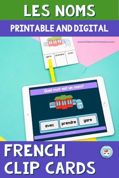Want students to work on identifying French nouns? Check out this set of French noun identification clip cards (printable & digital). Fun and effective way to work on an important French part of speech in French Immersion and Core French classrooms. Includes digital Boom Cards (Cartes Boom). Works well as a literacy center (centre de littératie), as homework (devoirs), and even as group work by projecting the digital cards onto a screen. Les classes de mots: les noms. French Nouns, French Grammar, Printable Cards, Printables, Core French, French Classroom, French Immersion, Parts Of Speech, Group Work