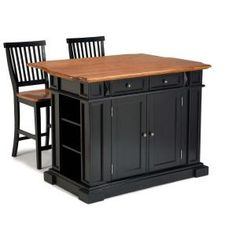 Home Styles, Kitchen Island in Black with Oak Top and Two Stools, 5003-948 at The Home Depot - Mobile