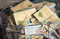 Put a bird on it.  Thank-you notes tied with striiiing...