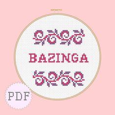 INSTANT DOWNLOAD Counted cross stitch PDF pattern Bazinga Big Bang Theory