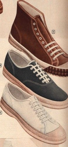 1940s teenager sport shoes  ~  For sports like Basketball, a pair of Converse or off-brand lace up sneakers were worn.