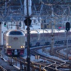 """国内で唯一""""東京駅初の寝台列車""""としてまだ残っているのが「サンライズ」。 14両編成のうち、前7両が四国の高松行き「サンライズ瀬戸」、後ろ7両が山陰の出雲市行き「サンライズ出雲」です。翌朝、岡山で切り離されて、それぞれの目的地を目指すのです。高松で讃岐うどんの食べ歩きに行くのも、出雲大社で縁結びのお参りに行くのもいいですね。"""