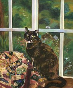 Black cat with tortoise shell cat painting - Christal Carter Tortoise Cat, Tortoise Shell, Sulcata Tortoise, Crazy Cat Lady, Crazy Cats, Cat Quilt, Cat Boarding, Cat Drawing, Cat Love