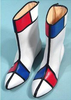 c. 1960's  Mondrian Color Block Go-Go Boots
