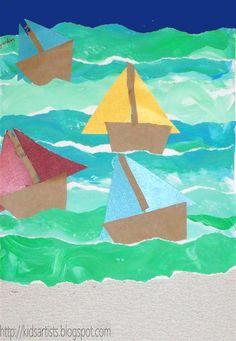 The Blue Boat - Kids Artists: Sailboat regatta art project idea Kindergarten Art, Preschool Art, School Art Projects, Projects For Kids, Artists For Kids, Art For Kids, Kid Art, Classe D'art, Summer Art