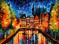 "Amsterdam, Canal — PALETTE KNIFE Oil Painting On Canvas By Leonid Afremov - Size: 40"" x 30"" (100cm x 75cm)"