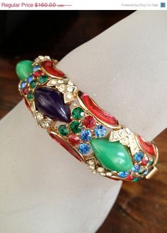 Fabulous Vintage Enamel Hinged Cuff/Bangle by Vintageimagine, $136.00