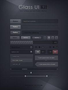 http://abduzeedo.com/free-ui-elements Interesting dark ui design...