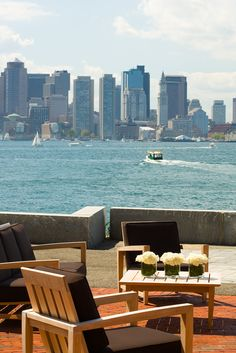 Take in the gorgeous waterfront and city skyline from Hyatt Harborside's deck. #Boston