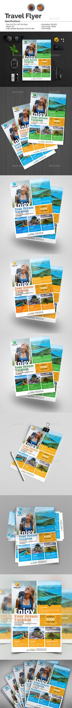 Holiday Tour & Travel Flyer Template Vector EPS, AI Illustrator