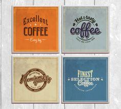 Vintage Coffee Labels 4-pc. Ceramic Tile by LemonPlumDesigns