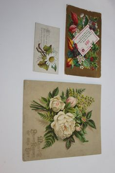 Three floral greetings cards Victorian by redrococogarden on Etsy
