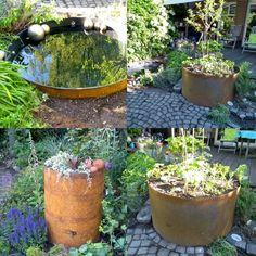 """Vor ein paar Tagen hieß es """" Wenn aus einem #Plan #Wirklichkeit wird.... Hier nun das fertige #Ergebnis! Im #Wasserbecken spiegelt sich der Garten, im Hochbeet haben #Stauden und #Küchenkräuter ihren #Lieblingsplatz gefunden. #gartendesign #planungistalles #metallimgarten #stahlimgarten #draussendaheim Planter Pots, Garden Planning, Shade Perennials, Landscaping, Couple, Plant Pots"""