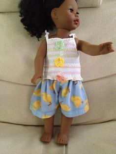 remade smocked tube top and some softest flannel with chicks made from pj pants into doll shorts.