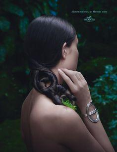 "Metamorphosis, an Hermès story. ""Chaîne d'ancre 24"" bracelet in silver. Hermès 2014 spring-summer campaign. #hermes"
